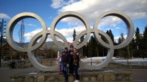 Can't help but feel like champions when posing in front of the Olympic rings in Whistler Village, BC.